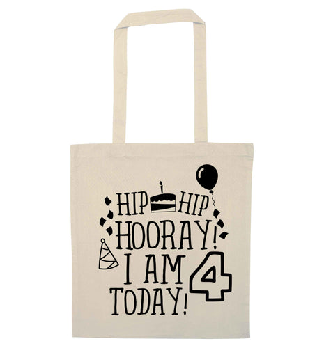Hip hip hooray I am four today! natural tote bag