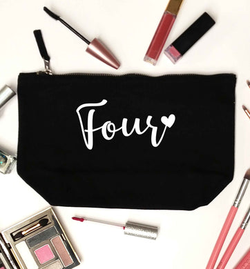 Four and heart black makeup bag