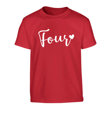 Four and heart Children's red Tshirt 12-13 Years