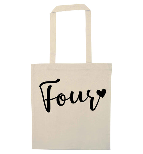 Four and heart natural tote bag