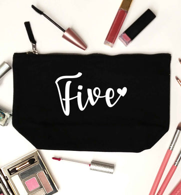 Five and heart black makeup bag