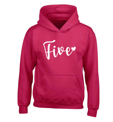 Five and heart children's pink hoodie 12-13 Years