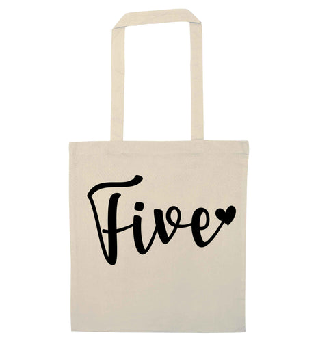 Five and heart natural tote bag