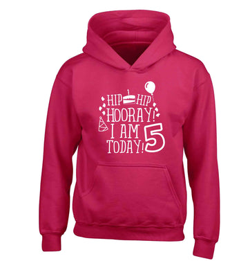 Hip hip hooray I am five today! children's pink hoodie 12-13 Years