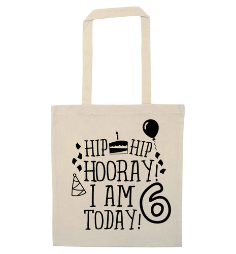Hip hip hooray I am six today! natural tote bag
