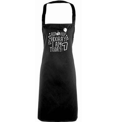 Hip hip I am seven today! adults black apron