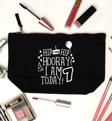 Hip hip I am seven today! black makeup bag