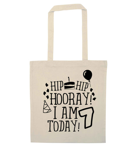 Hip hip I am seven today! natural tote bag
