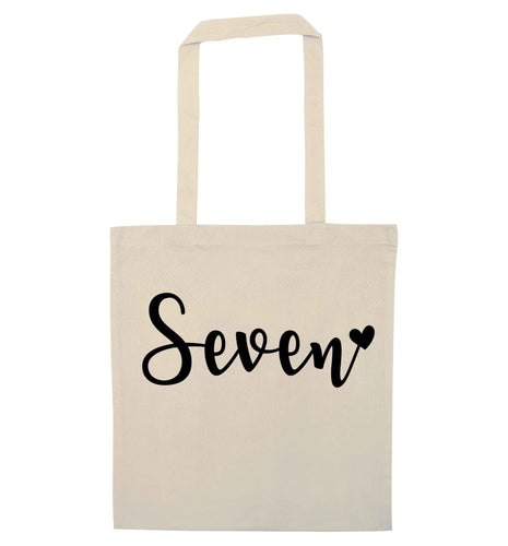 Seven and heart natural tote bag
