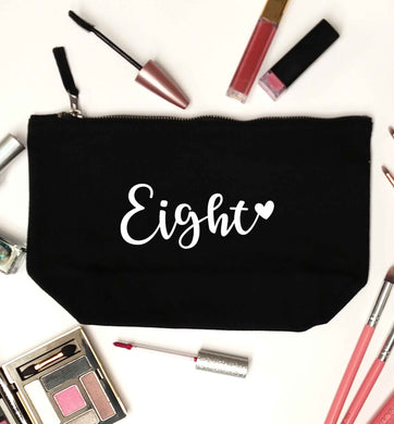 Eight and heart black makeup bag