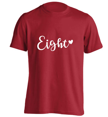 Eight and heart adults unisex red Tshirt 2XL