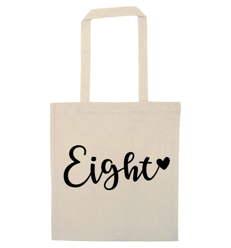 Eight and heart natural tote bag