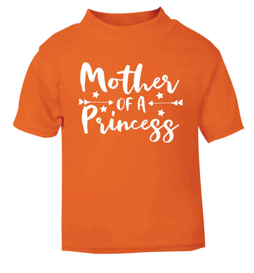 Mother of a princess orange baby toddler Tshirt 2 Years