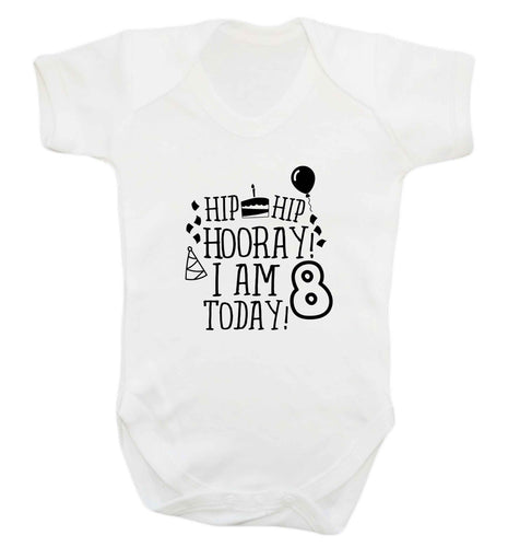 Hip hip hooray I am 8 today! baby vest white 18-24 months