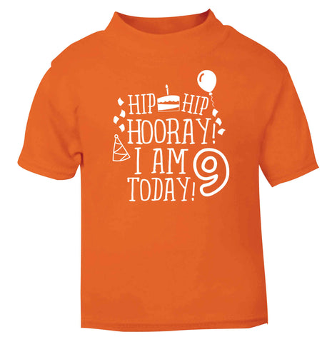 Hip hip hooray I am 9 today! orange baby toddler Tshirt 2 Years