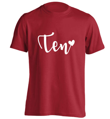 Rose gold ten adults unisex red Tshirt 2XL