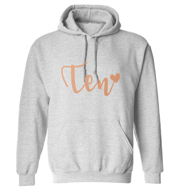 Rose gold eleven adults unisex grey hoodie 2XL