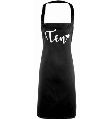 Ten and heart adults black apron
