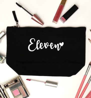 Eleven and heart! black makeup bag