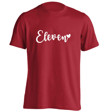 Eleven and heart! adults unisex red Tshirt 2XL
