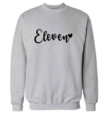 Eleven and heart! adult's unisex grey sweater 2XL