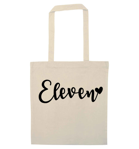 Eleven and heart! natural tote bag
