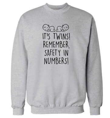 It's twins! Remember safety in numbers! adult's unisex grey sweater 2XL