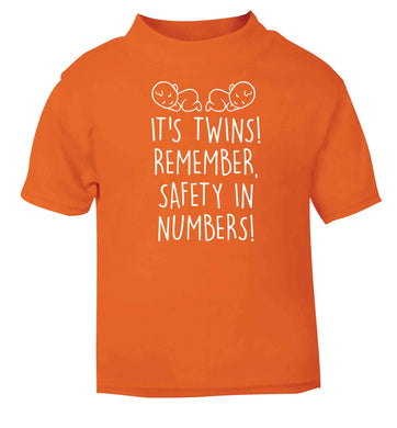 It's twins! Remember safety in numbers! orange baby toddler Tshirt 2 Years
