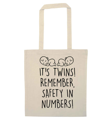 It's twins! Remember safety in numbers! natural tote bag