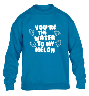 You're the water to my melon children's blue sweater 12-13 Years