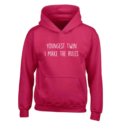 Youngest twin I make the rules children's pink hoodie 12-13 Years