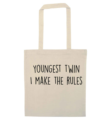 Youngest twin I make the rules natural tote bag
