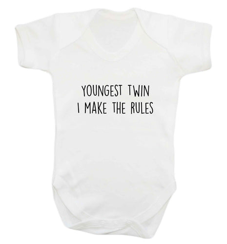 Youngest twin I make the rules baby vest white 18-24 months