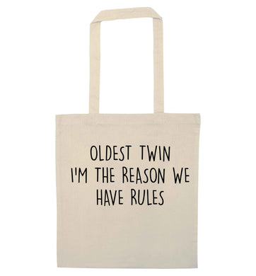 Oldest twin I'm the reason we have rules natural tote bag
