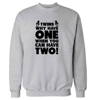 Twins why have one when you can have two adult's unisex grey sweater 2XL
