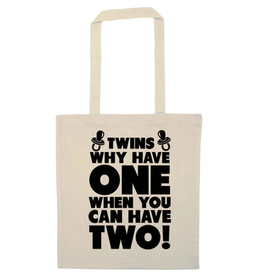 Twins why have one when you can have two natural tote bag