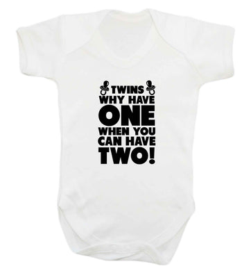 Twins why have one when you can have two baby vest white 18-24 months