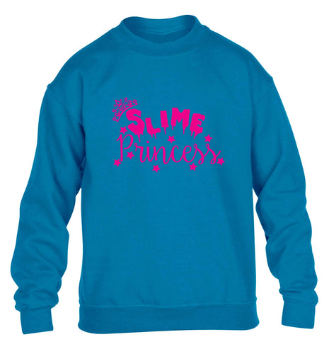 Neon pink slime princess children's blue sweater 12-13 Years