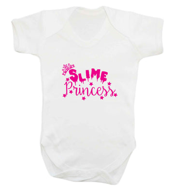 Neon pink slime princess baby vest white 18-24 months