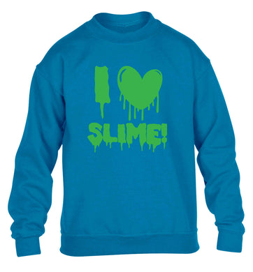 Neon green I love slime children's blue sweater 12-13 Years
