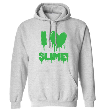 Neon green I love slime adults unisex grey hoodie 2XL