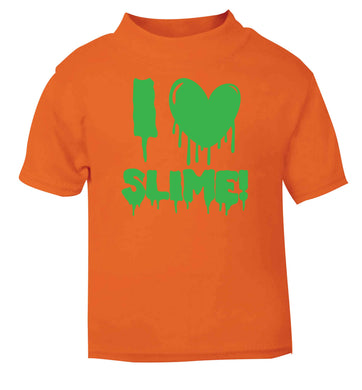 Neon green I love slime orange baby toddler Tshirt 2 Years