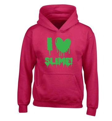 Neon green I love slime children's pink hoodie 12-13 Years