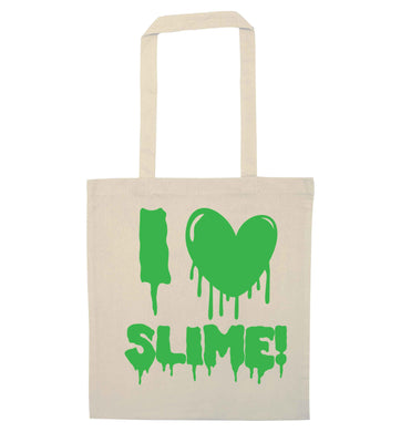 Neon green I love slime natural tote bag