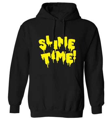 Neon yellow slime time adults unisex black hoodie 2XL