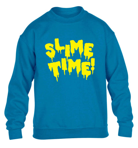 Neon yellow slime time children's blue sweater 12-13 Years