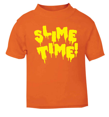 Neon yellow slime time orange baby toddler Tshirt 2 Years