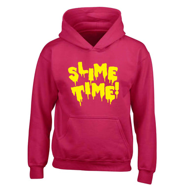 Neon yellow slime time children's pink hoodie 12-13 Years