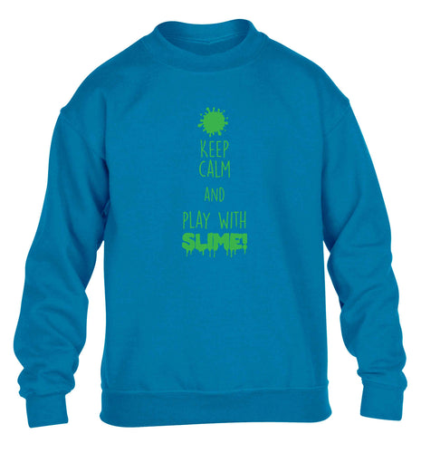 Neon green keep calm and play with slime!children's blue sweater 12-13 Years