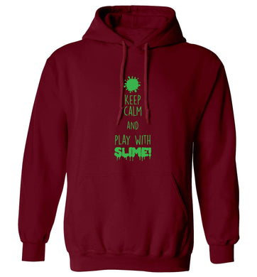 Neon green keep calm and play with slime!adults unisex maroon hoodie 2XL
